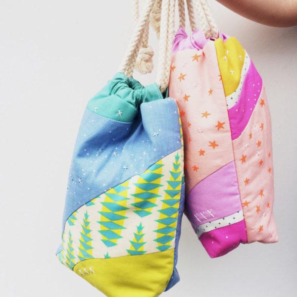 Improv Curves Drawstring Bag Laura Cunningham